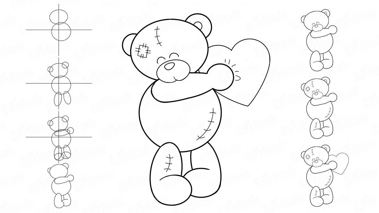 техника, медвежонок рисунки карандашом роли