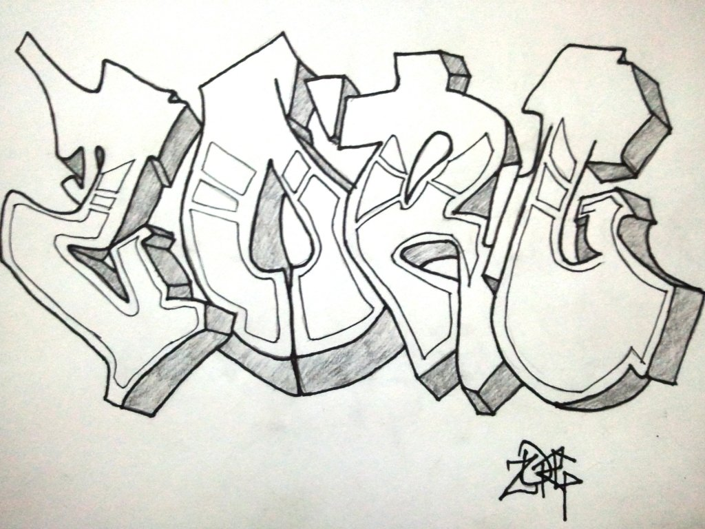 Легкие рисунки карандашом граффити имена красочную