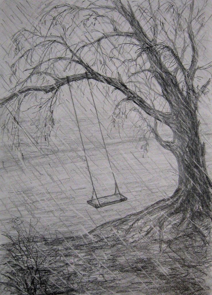 Осенняя картинка простым карандашом