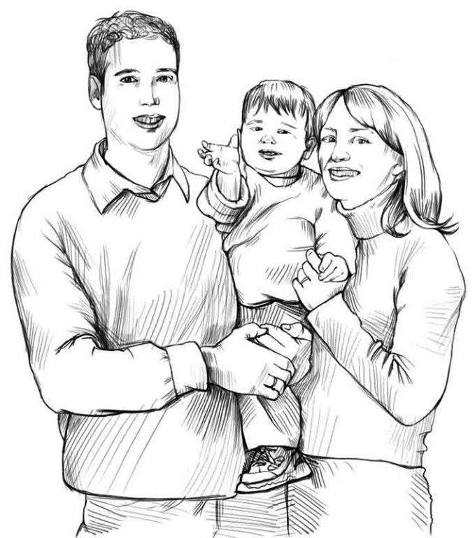 Год, рисунок семьи карандашом для детей картинки