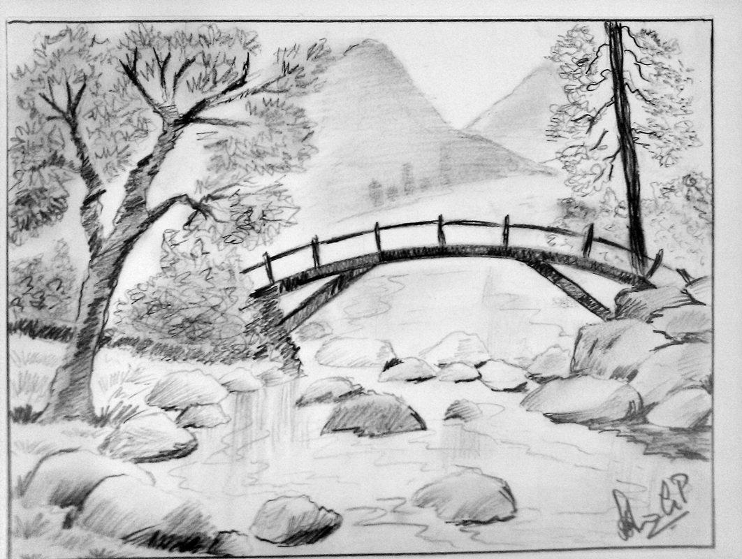 рисунки карандашом легкие и красивые пейзажи высотный забор