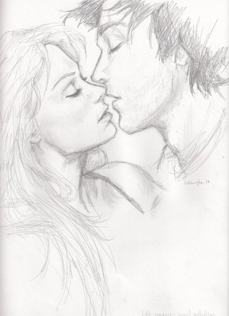 Рисунки карандашом парень и девушка целуются