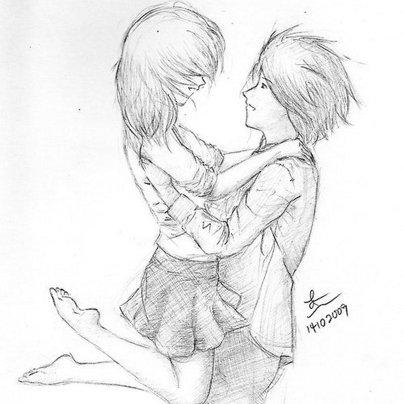 Рисунки простым карандашом для срисовки парень и девушка