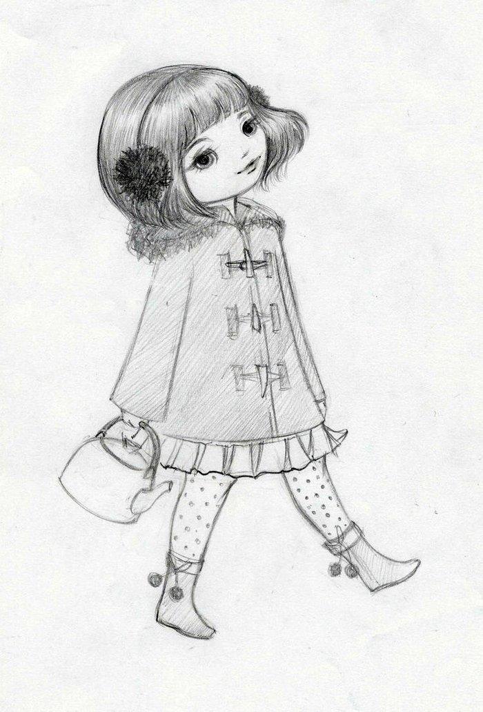 Новогодняя открытка, рисунок девочке карандашом
