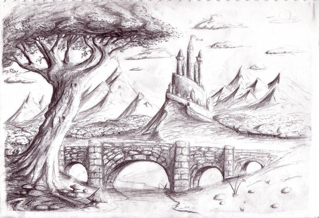 рисунки карандашом легкие и красивые пейзажи небольшой