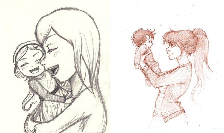 Красивые картинки для мамы от дочери для срисовки легкие и красивые, влюбленных