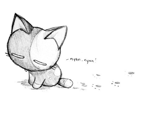 Грустный котик карандашом