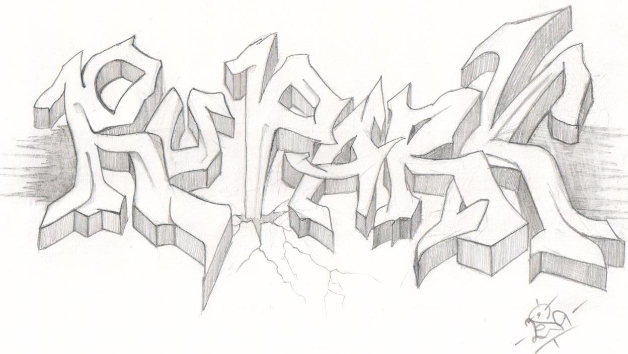 рисовать граффити на бумаге карандашом картинками длинных прямых