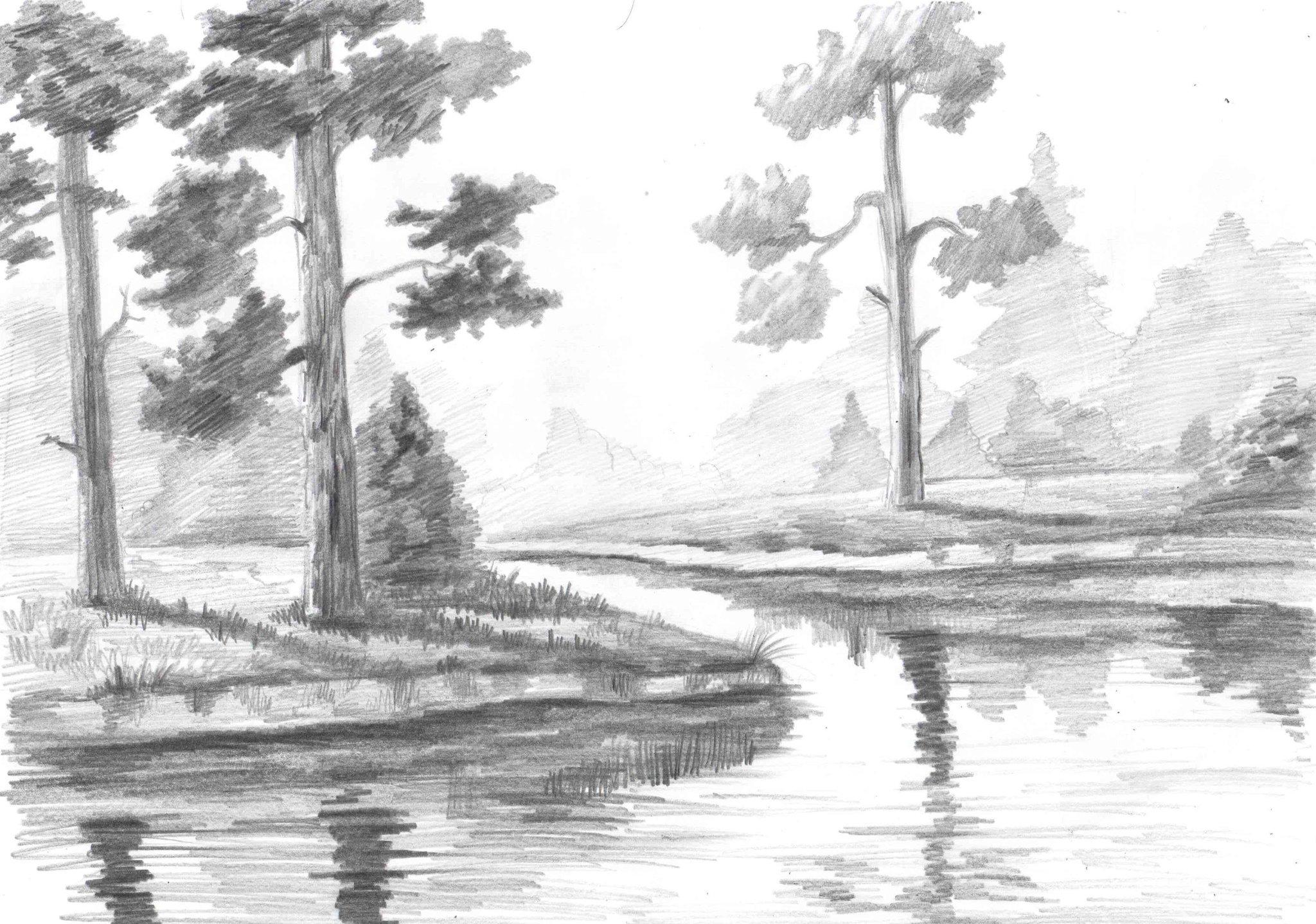 рисунки карандашом легкие и красивые пейзажи нескольких лет обучения