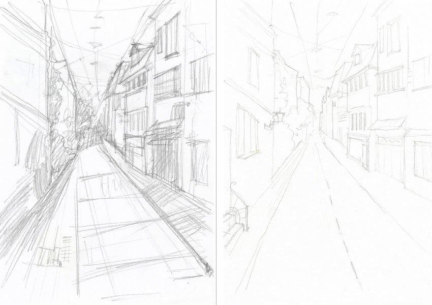 занимается рисунок улицы города карандашом для начинающих уже его сделал