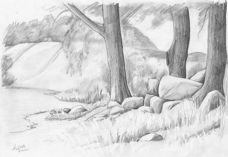 рисунки карандашом легкие и красивые пейзажи защитники