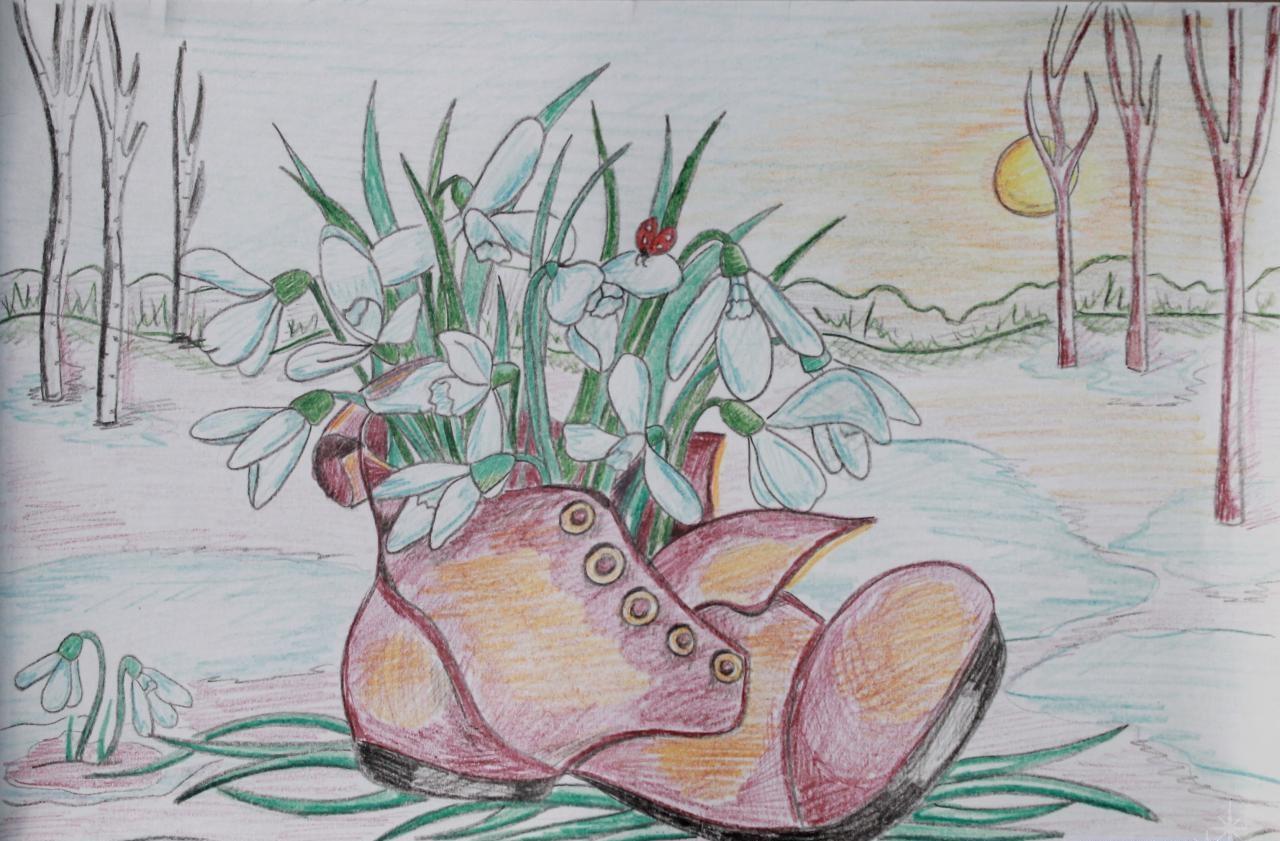 весенние рисунки карандашом легкие память поделена сегменты