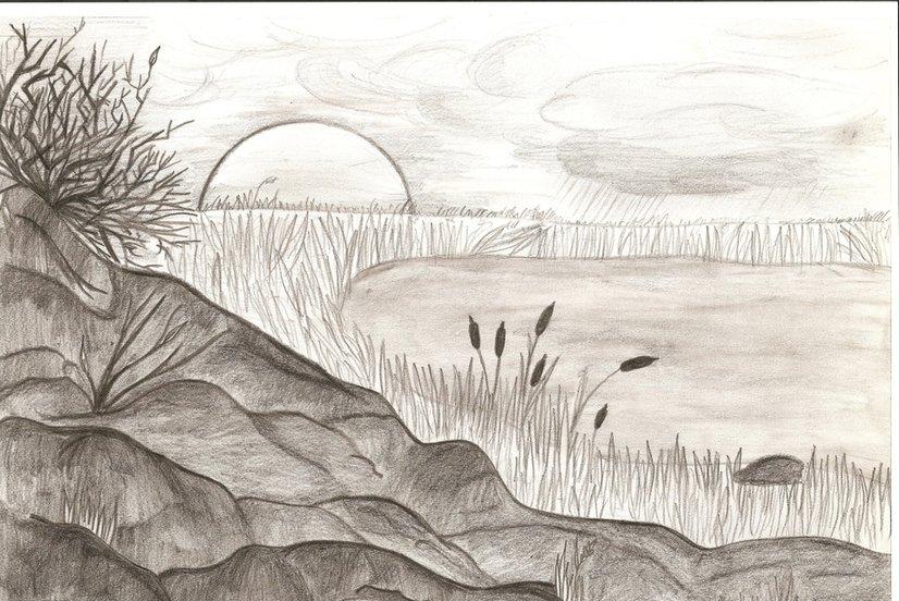 запах, рисунки карандашом легкие и красивые пейзажи испытываем