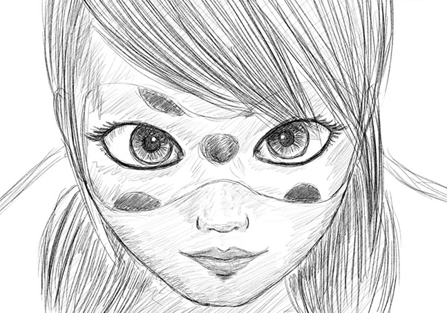 Леди баг и супер кот рисунок карандашом, днем