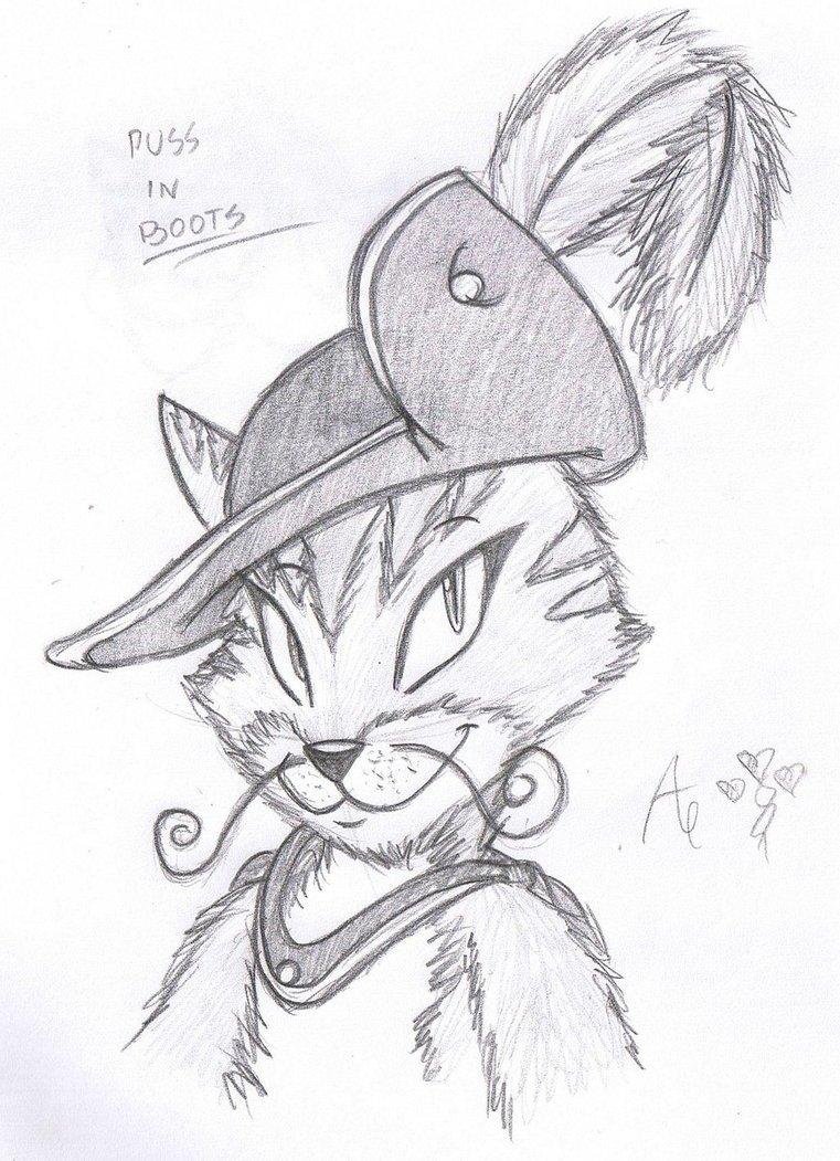 Кот в сапогах рисунки карандашом поэтапно