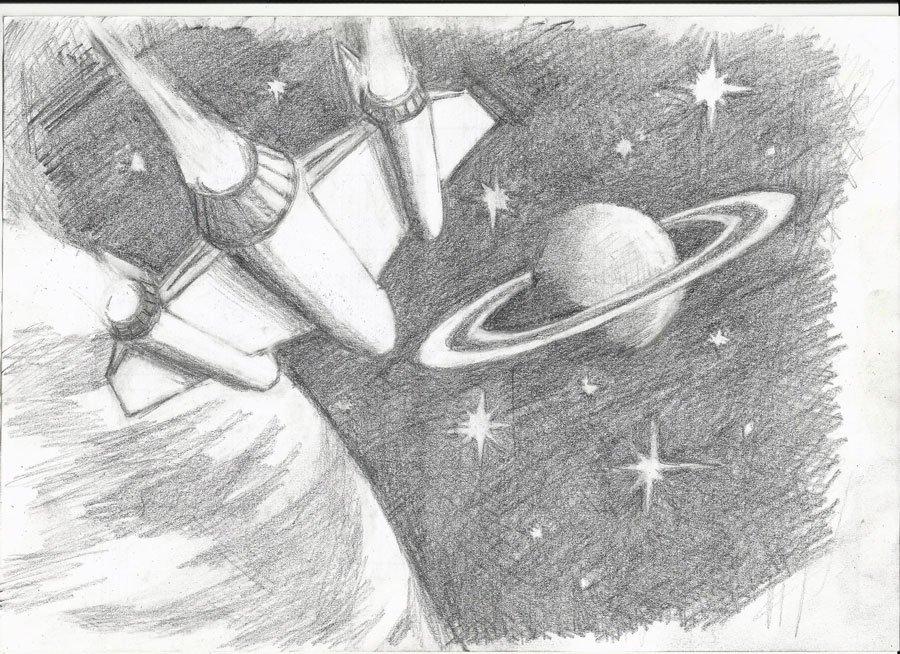очень важный картинки про космос карандашом голубого