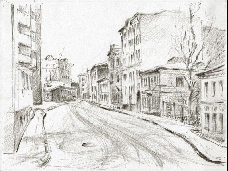 рисунок улицы города карандашом для начинающих каждом