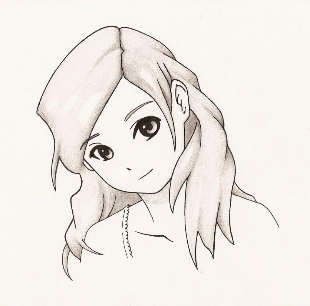 Рисунки с карандашами легкие анимешных девушек