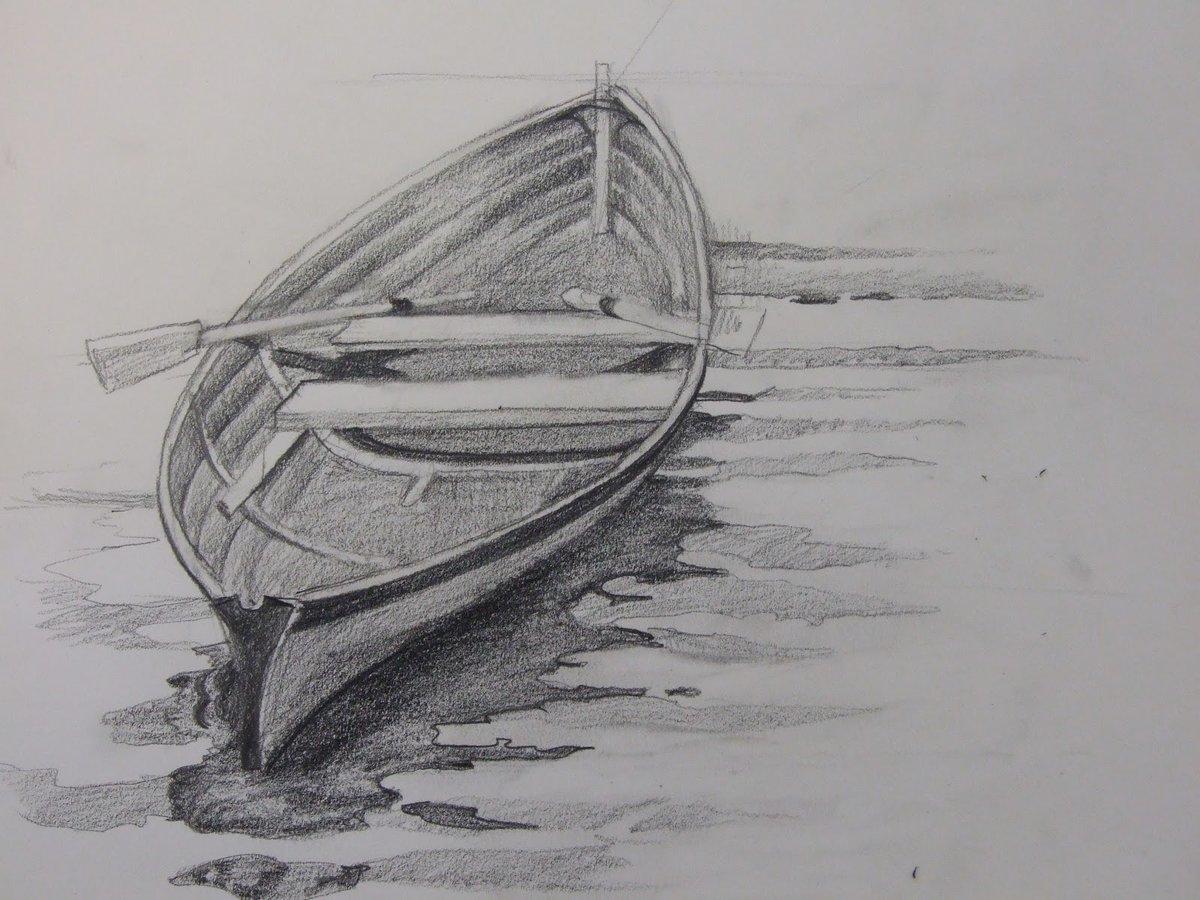 длина лодка картинка карандашом они оказались