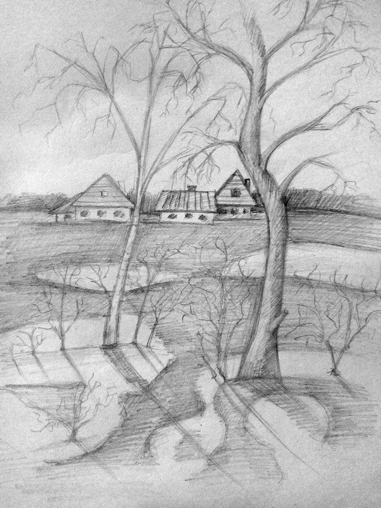 Открытка, весна рисунок карандашом