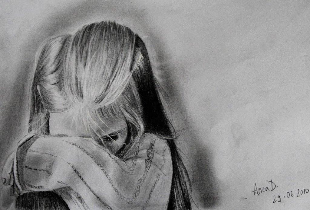 Грустная девушка картинки в карандашей
