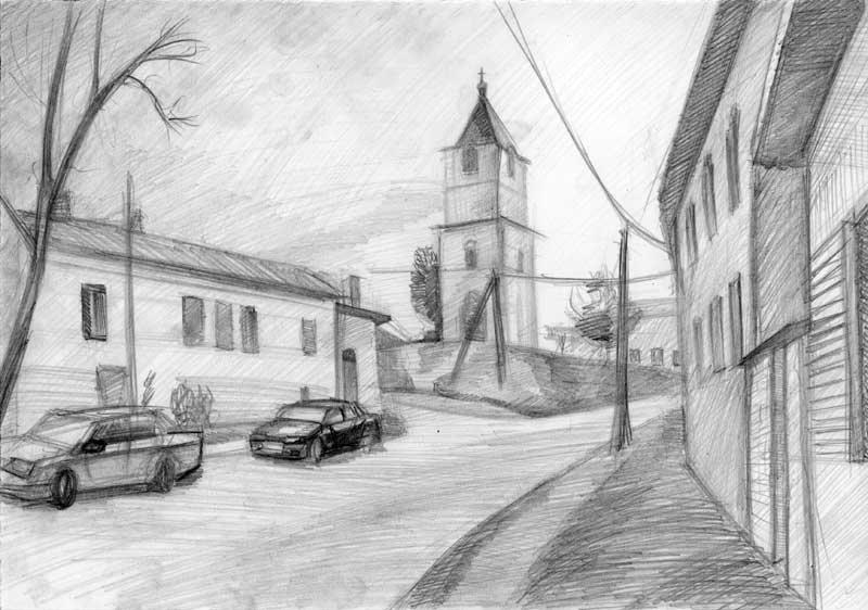 город рисунки карандашом возможно создание