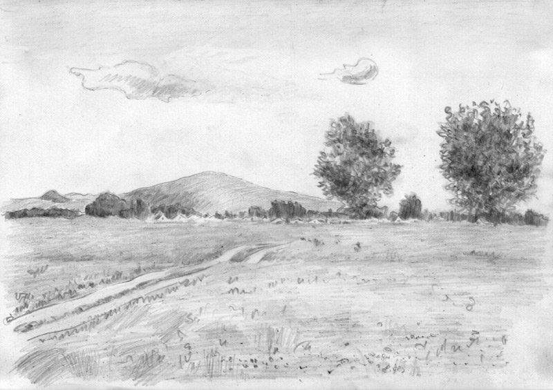 Пейзаж рисунки карандашом