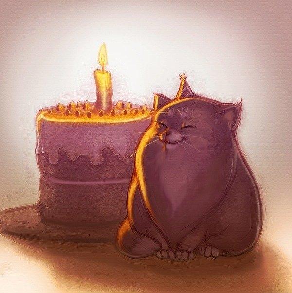 Выздоравливай, картинка с днем рождения с котиком