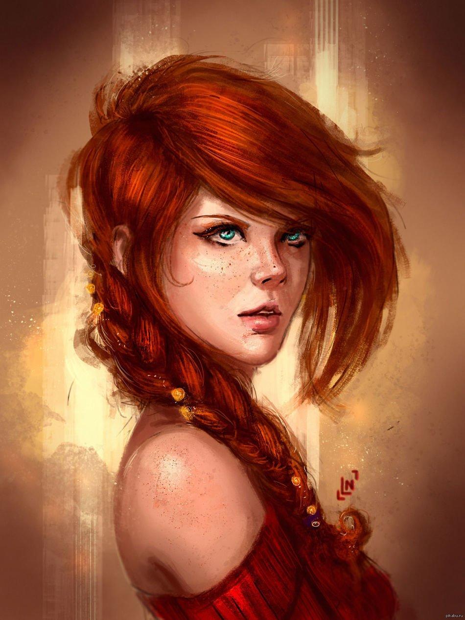 Картинки рыжих девушек нарисованных на аву, днем