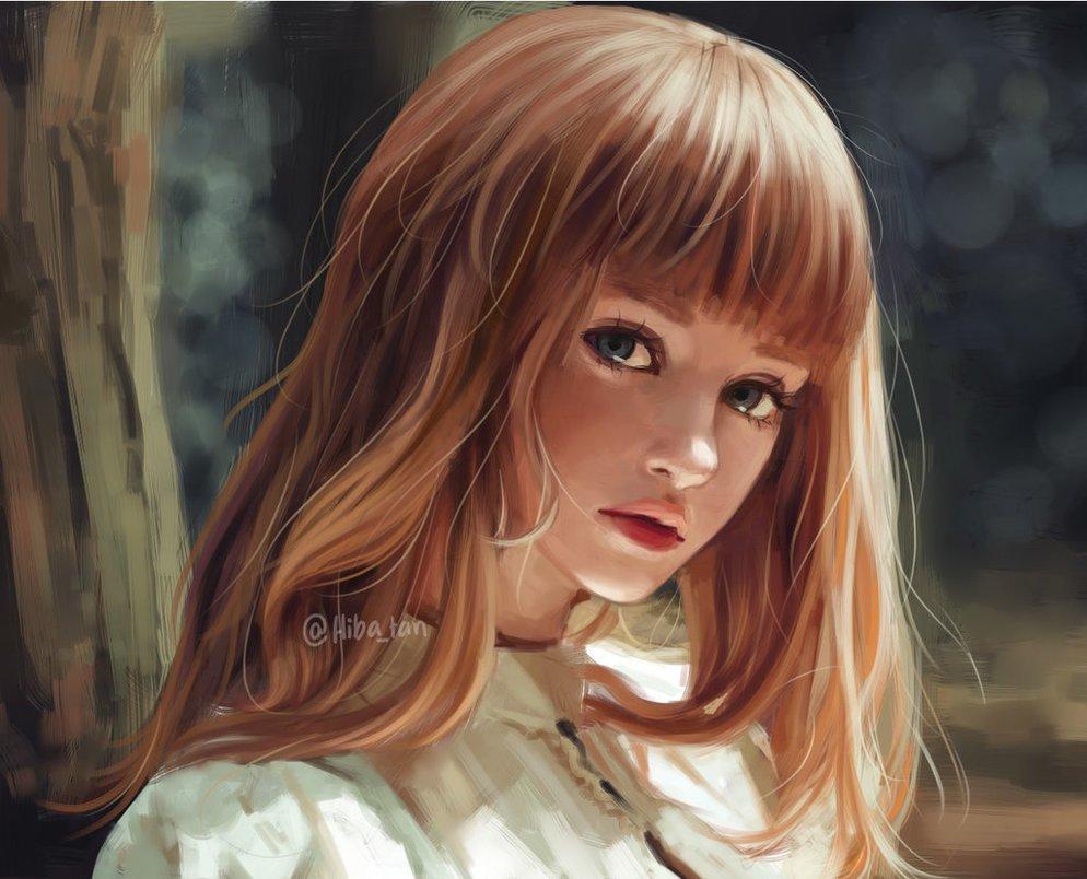 Картинки рисунки девушек с челкой
