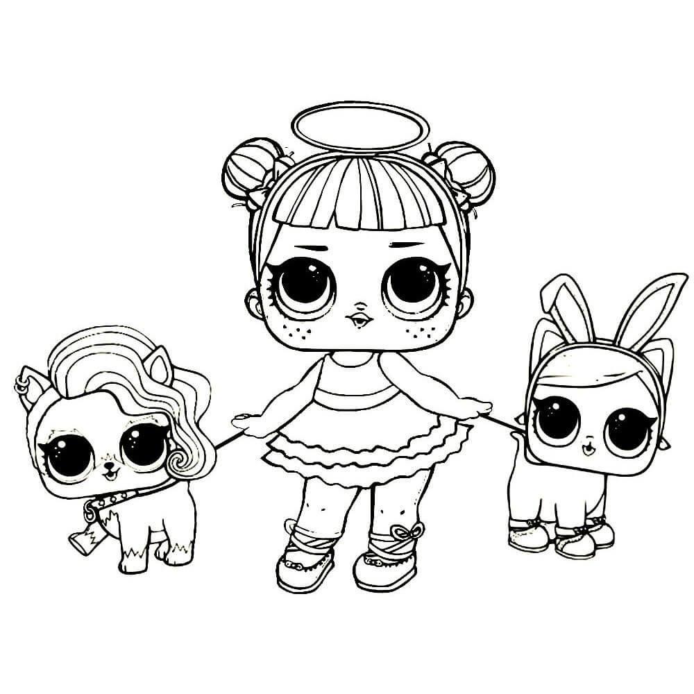 Картинки-раскраски куклы лол для распечатки