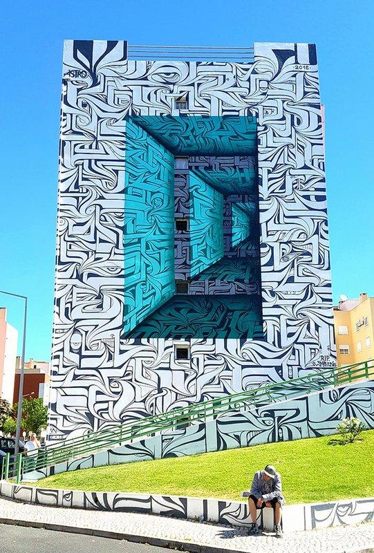 Разрисовка здания в стиле оптической иллюзии