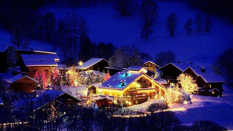 Новогодние домики с огоньками