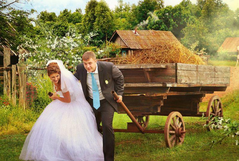 Жених и невеста тянут телегу
