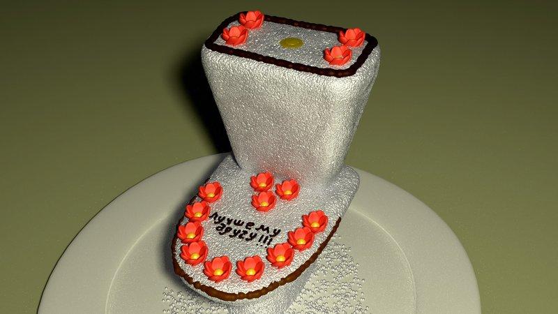 Торт в виде унитаза