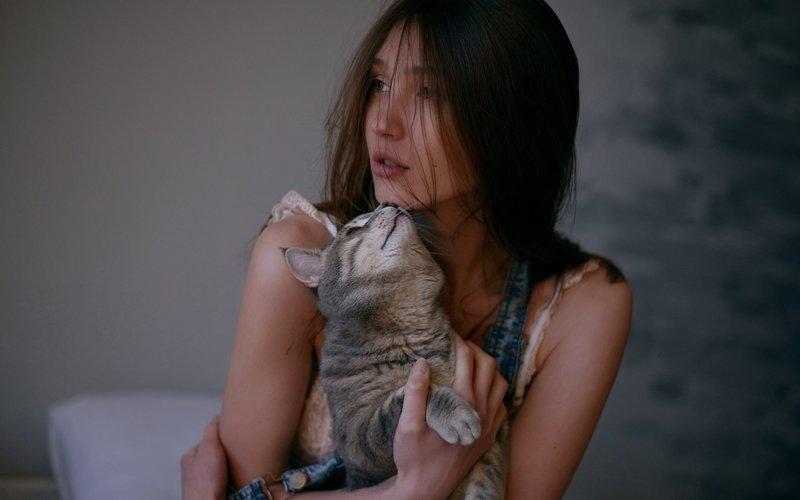 Шатенка и кот