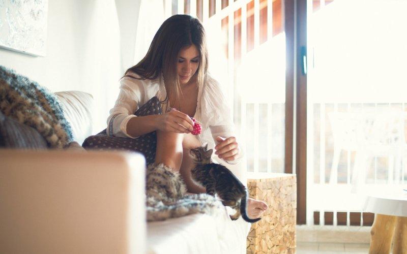 Девушка играет с котиком