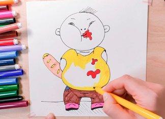 Рисунок толстого мальчика