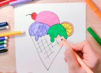 Рисунок мороженого в рожке