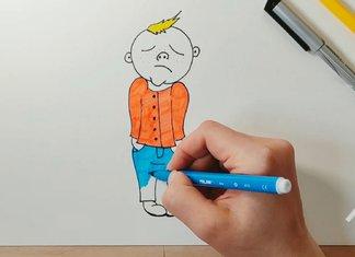 Рисунок грустного мальчика