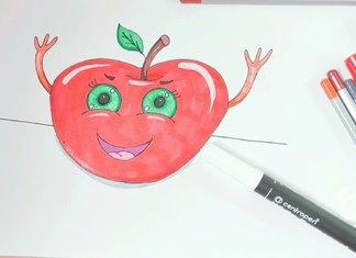 Рисунок - яблоко с глазками