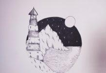 Рисунок маяк в море