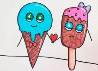 Влюбленные мороженки - детский рисунок.