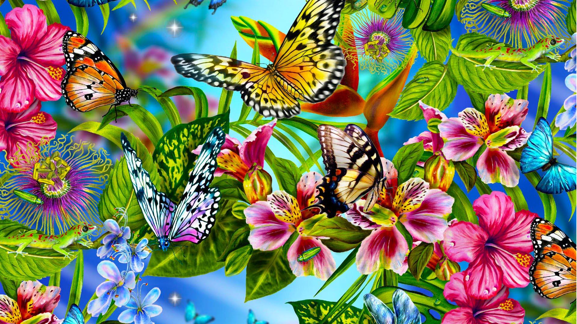 Обои с рисунками бабочек
