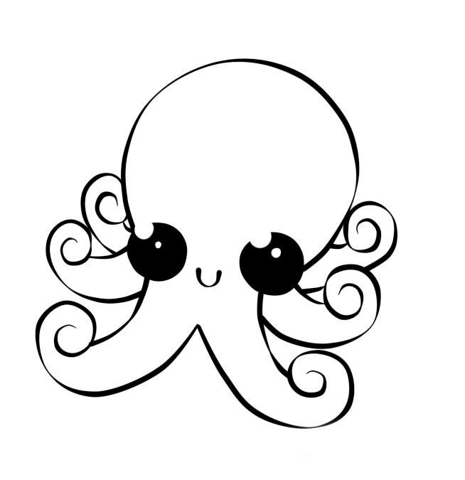 Realistic Octopus Coloring Page