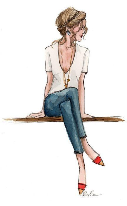 Рисунок карандашом стильной девушки