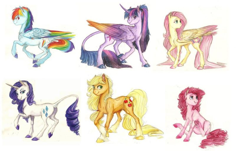Нарисовать лошадок из май литл пони
