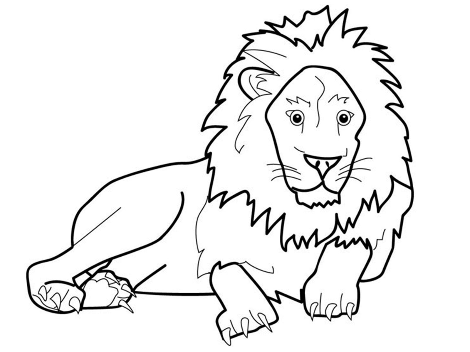 Лев чёрно белый раскраска