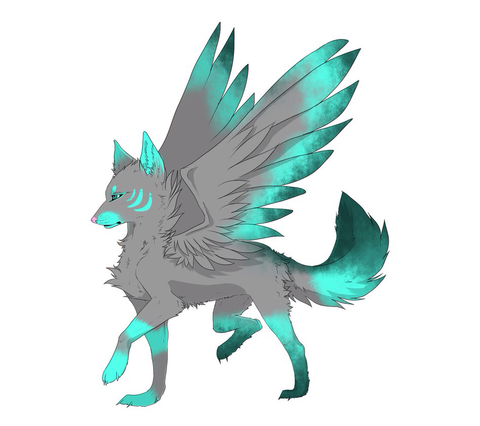 Black wolf anime with wings