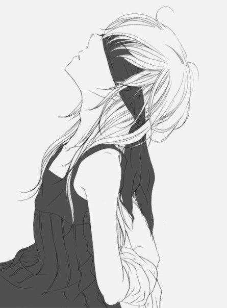аниме черно белые картинки девушек